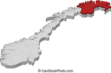 Map of Norway, Finnmark highlighted - Political map of...