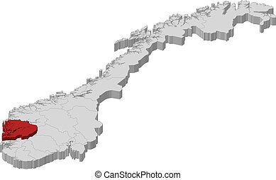 Map of Norway, Hordaland highlighted - Political map of...