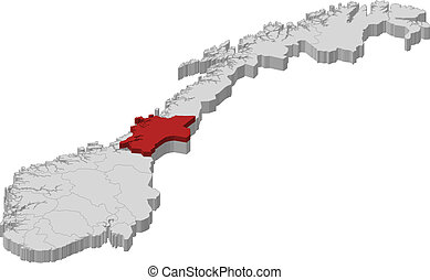 Map of Norway, Nord-Trondelag highlighted - Political map of...