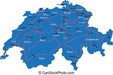 Switzerland map - Highly detailed map of Switzerland,with...
