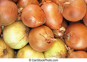 onions are in a market for fruit and vegetables ready for...
