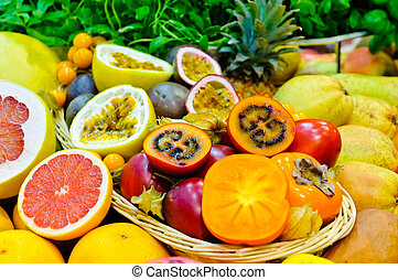 Exotic fruits - Mix of different fresh exotic fruits