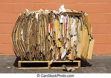 Bundle of Cardboard for Recycling - Bundle of cardboard...