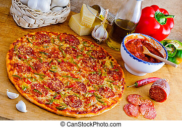Italian pizza and ingredients - Traditional italian...