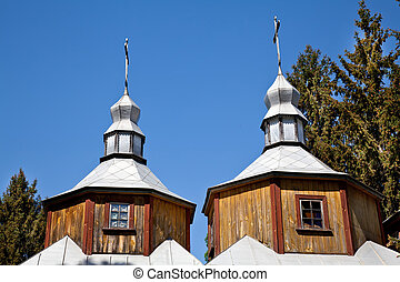 Wooden church two domes