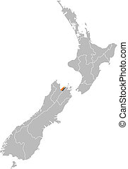 Map of New Zealand, Nelson highlighted - Political map of...