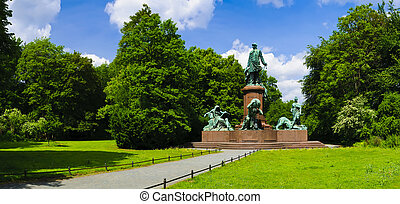 Bismarck memorial Berlin - Panorama with Bismarck memorial...