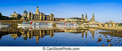 Dresden - Panorama Dresden with reflection in elbe river
