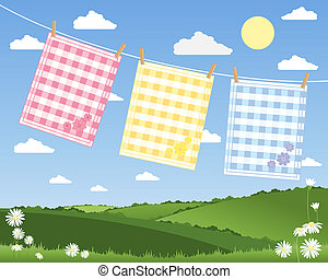 gingham tea towels - an illustration of a washing line with...