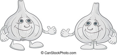 Character garlics - Cartoon, two character friend garlics...