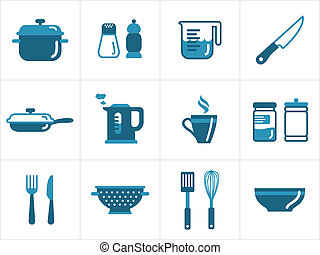 Kitchen icons set, easy to edit, resize and colorize