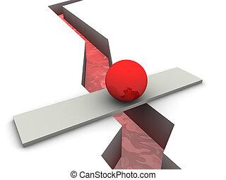red sphere on bridge