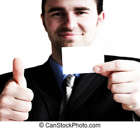Showing blank card - Businessman holding his business card...