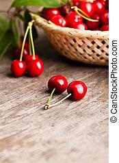 Sweet cherry - Sweet cherries in basket outdoor