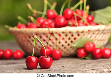 Sweet cherry - Sweet cherries in basket outdoor