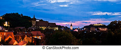 Brasov - Panoramic view at sunset, in Brasov, Romania