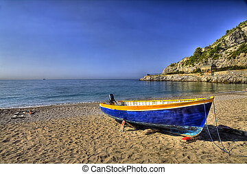 Boat on the beach of Erchie, village of Amalfi coast