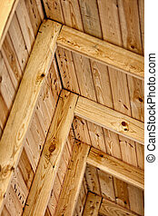 Construction a wooden roof - inside view - The construction...