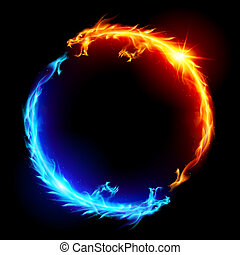 Blue and red fire Dragons - Ring of Blue and Red Fiery...