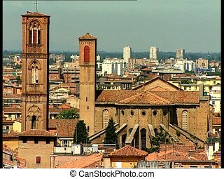 BOLOGNA cityscape with st francis - Cityscape of the ancient...