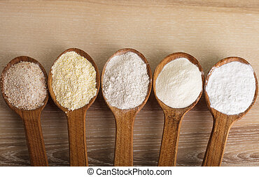 Types of flour - Various types of flour in five wooden...