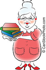 Illustration of female librarian with a stack of books in...
