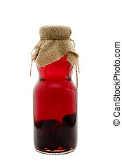 sour cherry liquor - rustic bottle of sour cherry liquor...
