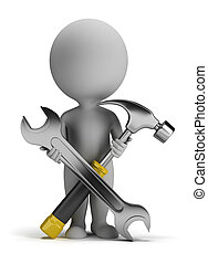 3d small people - repairer - 3d small person with a wrench...