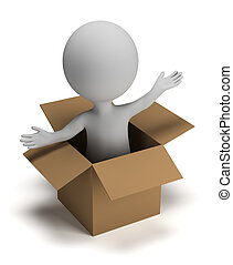 3d small people in the box - 3d small person coming out of a...