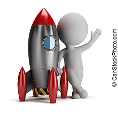 3d small people next to rocket