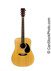 classic acoustic guitar isolated on a white background
