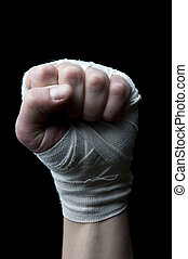 fist with wrist wraps - boxer fist with wrist wraps isolated...