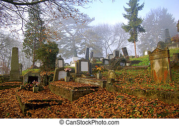 graveyard in autumn - old graveyard in autumn, transylvania,...
