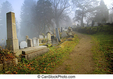 cemetery in transylvania - cemetery at autumn in...