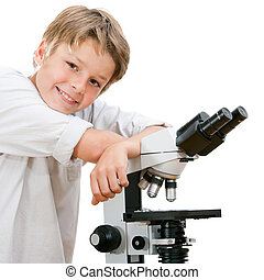Handsome young student with microscope - Close up portrait...