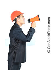 architect screaming loudly in a megaphone