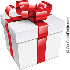 gift box  - Vector gift box with red ribbon and bow.