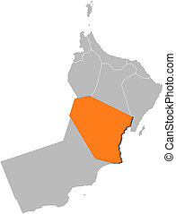 Map of Oman, Al Wusta highlighted - Political map of Oman...