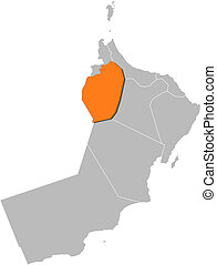 Map of Oman, Ad Dhahirah highlighted - Political map of Oman...