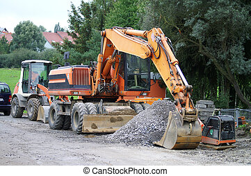 road construction - large excavator at the construction site...
