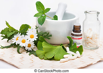 Alternative medicine - Healing herbs in mortar Alternative...