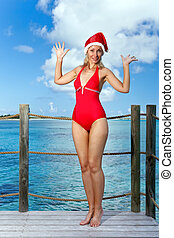 The woman in New Year's Santa-Klaus cap on background of ocean.