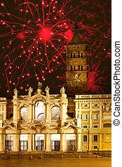 Celebratory fireworks over Santa Maria maggiore, Italy Rome...