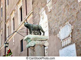 The statue of Romul, Remus and she-wolf in Rome, Italy