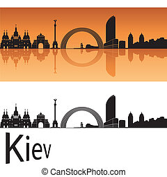 Kiev skyline in orange background in editable vector file