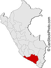 Map of Peru, Arequipa highlighted - Political map of Peru...