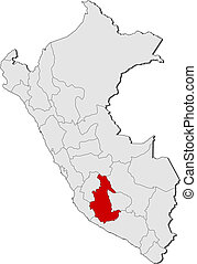 Map of Peru, Ayacucho highlighted