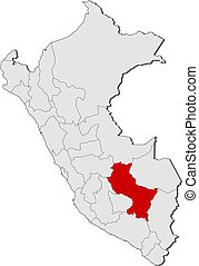Map of Peru, Cusco highlighted