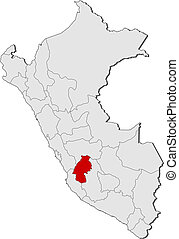 Map of Peru, Huancavelica highlighted