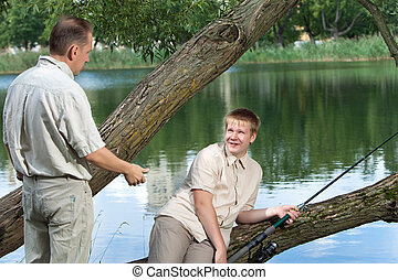 The father asks a fishing tackle from the son too to fish